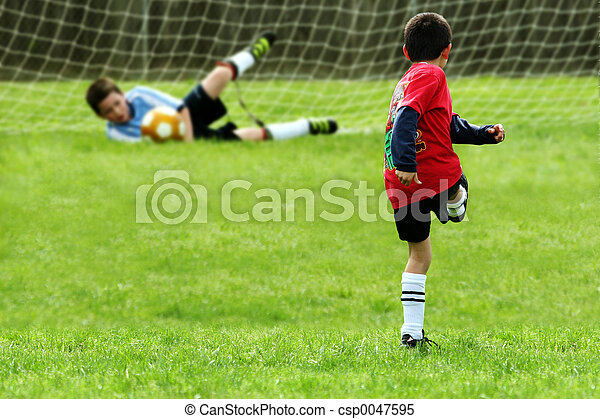 男の子, サッカー, 遊び - csp0047595