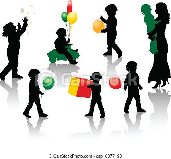 男の子, シルエット, 遊び, wi - csp10077193