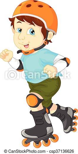 男の子, スケート, ローラー, 幸せ - csp37136626