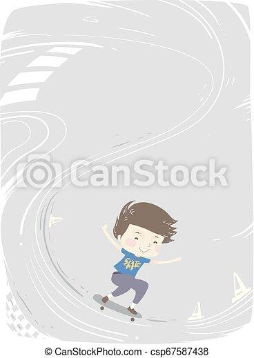 男の子, スケート, 背景, イラスト, 子供 - csp67587438