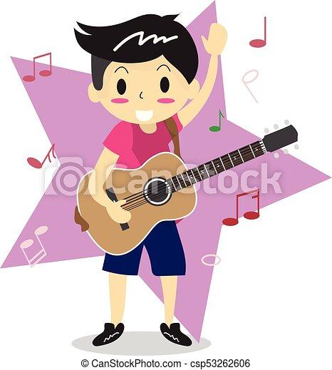 男の子 スタイル 愛 特徴 若い イラスト ギターの 演奏 ベクトル