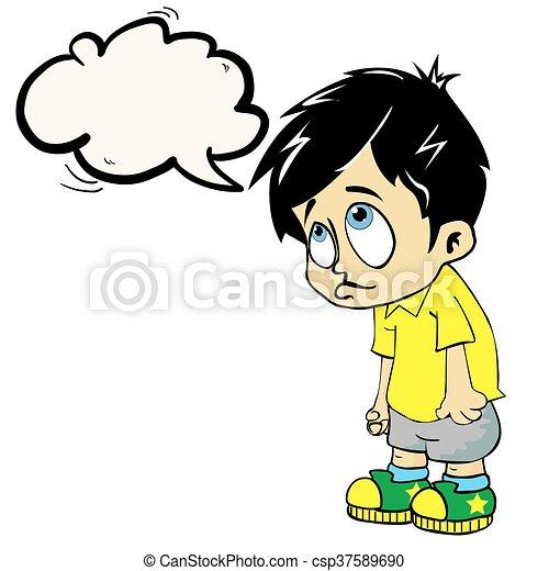 男の子, スピーチ泡, 悲しい - csp37589690