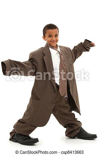 男の子, スーツ, だぶだぶである, 黒人の子供, 愛らしい, ハンサム - csp8413663