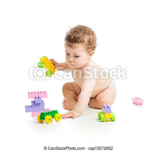 男の子, セット, 上に, 建設, 背景, 子供, 白 - csp15072652