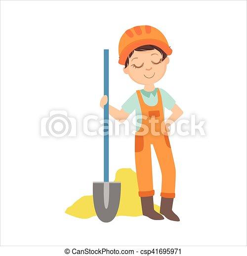 男の子, セット, 服を着せられる, 建築者, 砂, 専門職, サイト, イラスト, 建設, 山, 未来, 夢, 踏鋤, 子供 - csp41695971