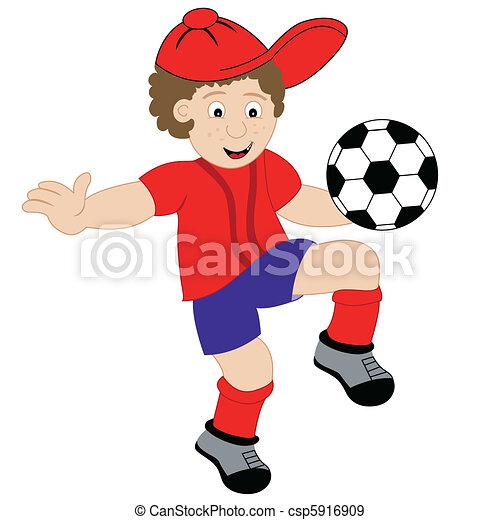 男の子, フットボール, 漫画, 遊び - csp5916909