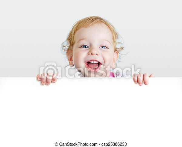 男の子, プラカード, 提示, space., ブランク, 赤ん坊, コピー - csp25386230