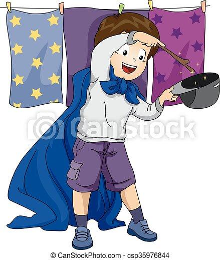 男の子, プレーしなさい, 魔法使い, 子供 - csp35976844