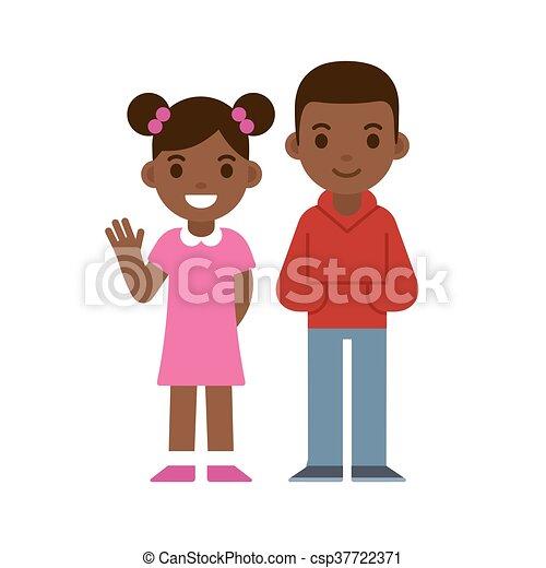 男の子, 女の子, 黒 - csp37722371