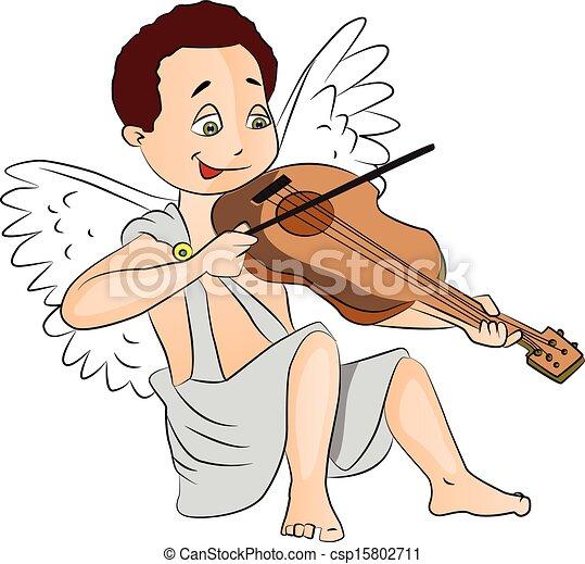男の子, 妖精, ベクトル, violin., 遊び - csp15802711