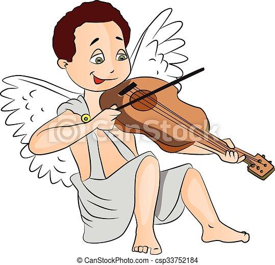男の子, 妖精, ベクトル, violin., 遊び - csp33752184