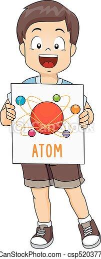 男の子, 子供, イラスト, 原子 - csp52037715