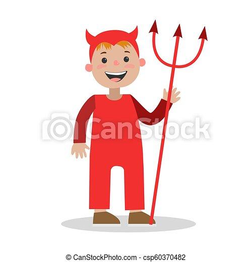 男の子, 小悪魔, ハロウィーン, イラスト, 衣装 - csp60370482