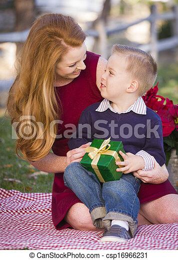 男の子, 彼の, 保有物, 贈り物, 公園, 若いママ, クリスマス - csp16966231