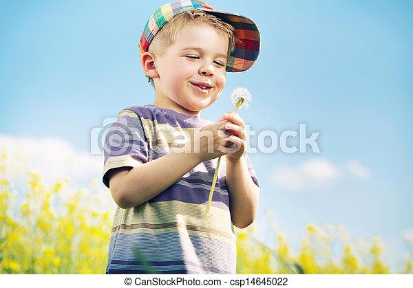 男の子, 彼の, 届く, 笑い, 手, blow-ball - csp14645022