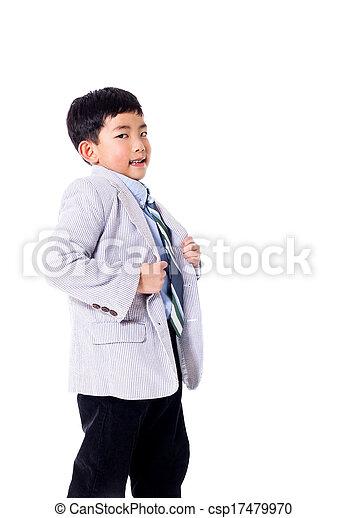 男の子, 得意である, スーツ - csp17479970