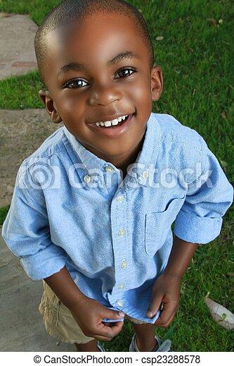 男の子, 微笑, カメラ, 黒, 若い - csp23288578