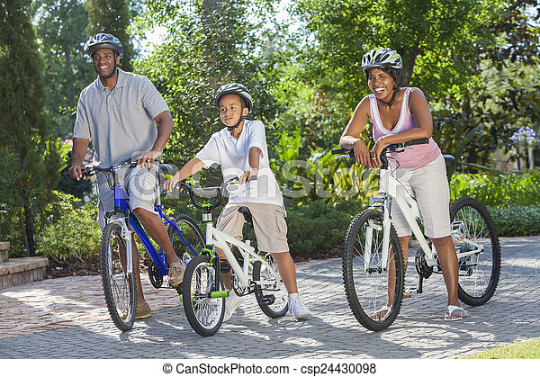 男の子, 息子, アメリカ人, 自転車, 親, アフリカ, 乗馬 - csp24430098