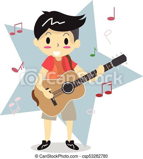 男の子 愛 Style2 特徴 若い イラスト ギターの 演奏 ベクトル