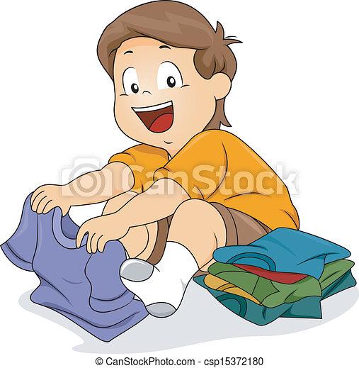 男の子, 折りたたみ, シャツ, 子供 - csp15372180