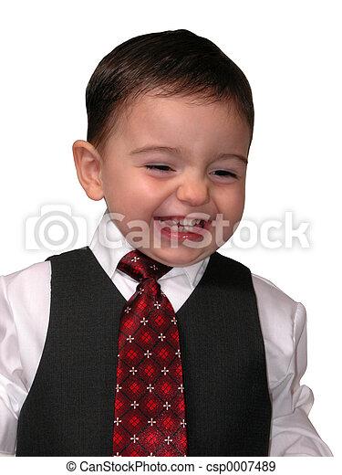 男の子, 笑う 子供 - csp0007489