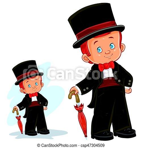 男の子, 芸術, クリップ, 若い, イラスト, 舞踏会場, costume., ベクトル, 期間 - csp47304509