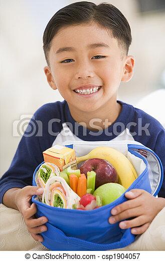 男の子, 若い, 昼食, 屋内, 微笑, パックされた - csp1904057