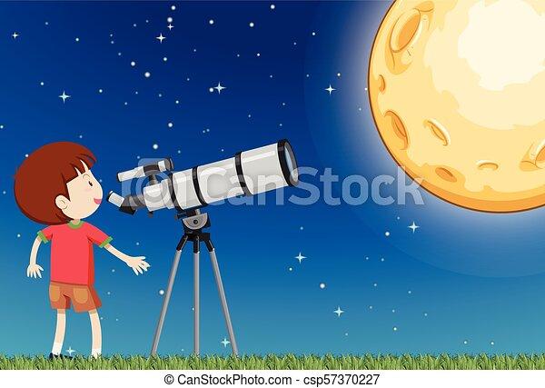 男の子, 観察, 月 - csp57370227