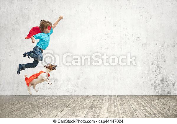 男の子, 飛行 - csp44447024