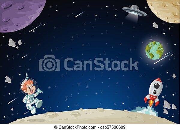 男の子, 飛行, 宇宙飛行士, 漫画 - csp57506609