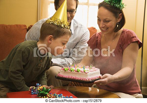 男の子, birthday, cake. - csp1512879