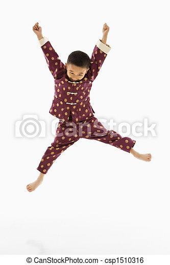 男の子, jumping. - csp1510316