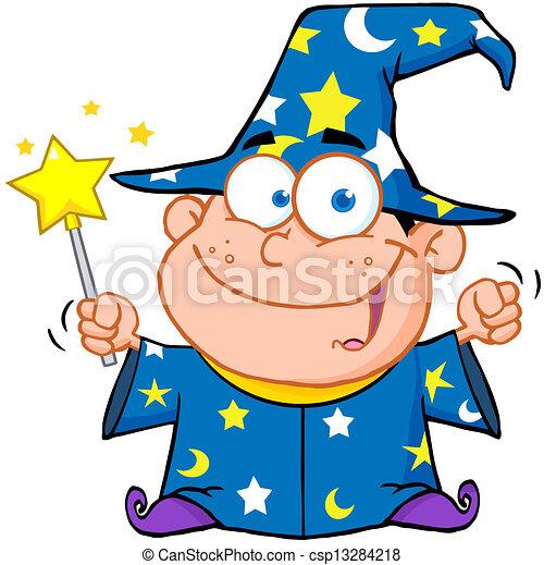 男孩, 巫術師, 愉快 - csp13284218