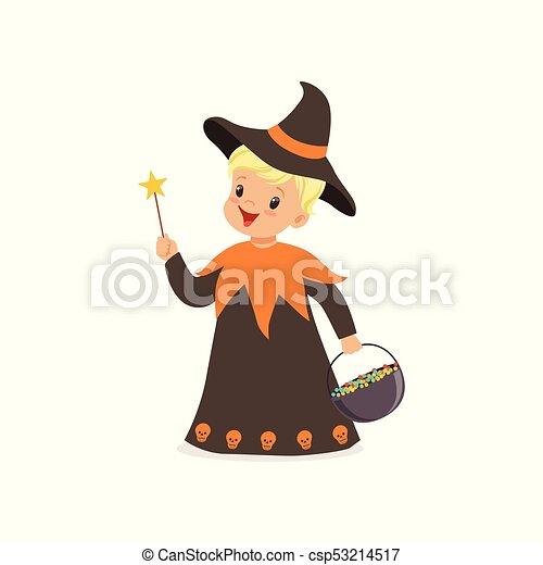 男孩, 很少, 漂亮, 被給穿衣, 巫術師, 插圖, 矢量, 服裝, 万圣節, 孩子 - csp53214517