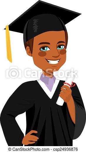 男孩, 美國人, 畢業, african - csp24936876