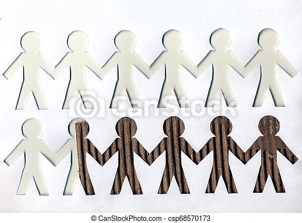 男性, ペーパー, 背景, ライト, 暗い, 白 - csp68570173