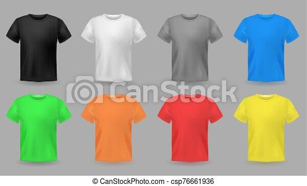 男性, 織物デザイン, 服装, 色, セット, 生地, mockups., ティーネージャー, ベクトル, カラフルである, tシャツ, 衣服 - csp76661936