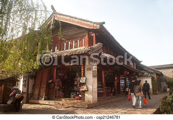 町, サイト, yunnan, 歴史的, 相続財産, 世界, 麗江 - csp21246781