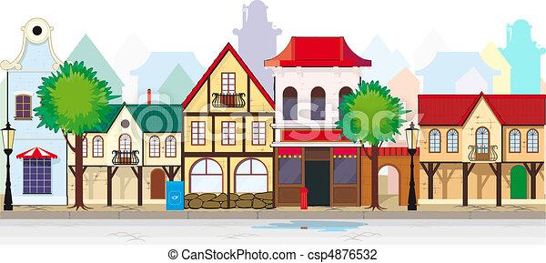 町, 優雅である, 小さい, 通り, 古い - csp4876532