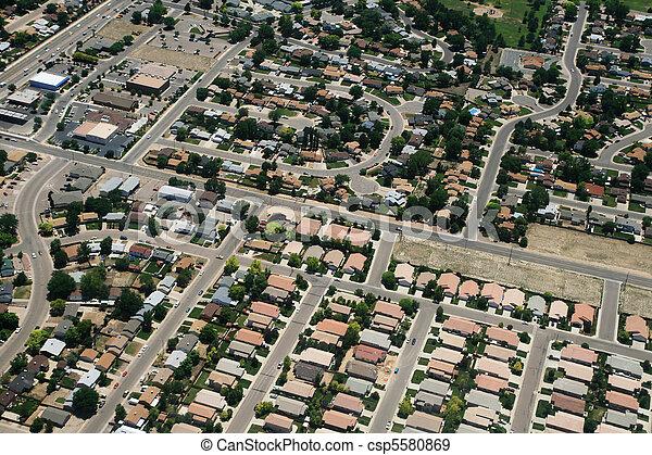 町, 写真, 航空写真 - csp5580869
