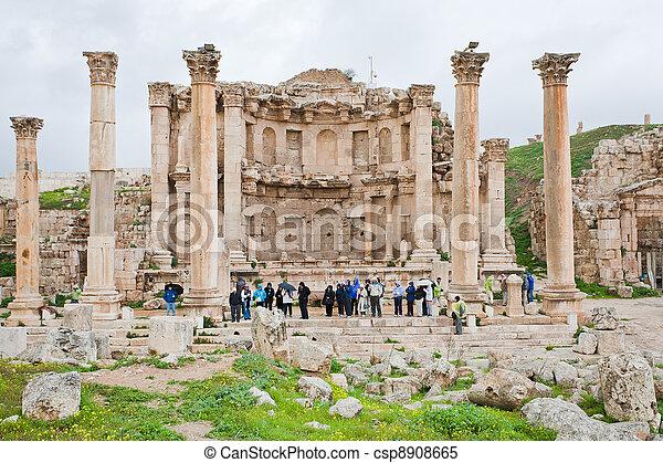 町, 古代, artemis, jerash, ファサド, 寺院 - csp8908665