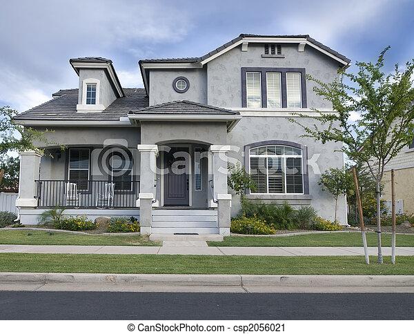 町, 大きい, アメリカ人, 家, 小さい - csp2056021