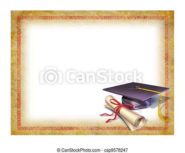 畢業証書, 畢業, 空白 - csp9578247
