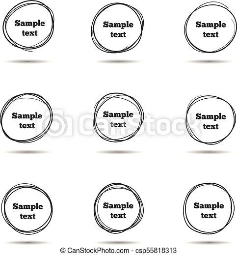 略述, 矢量, 手, circles., 框架, 畫, 線, 雜文, 輪 - csp55818313
