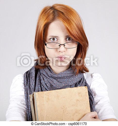 疑うこと, ファッション, 古い, 若い, 本, 女の子, ガラス - csp6061170