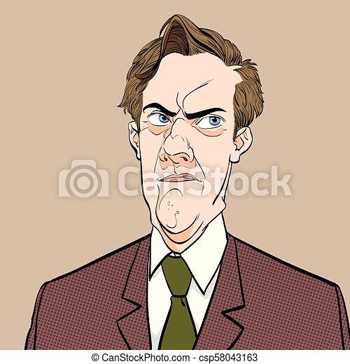 疑うこと, 芸術, illustration., 人々, 失望させられた, スタイル, ポンとはじけなさい, レトロ, 肖像画, 失望させられた, style., man. - csp58043163