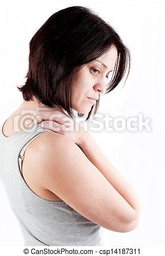 疼痛, 脖子 - csp14187311