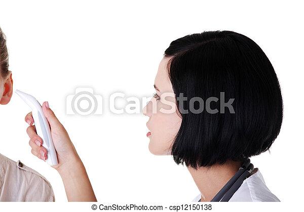 病人, 溫度, 她, 醫生, 檢查, 女性 - csp12150138