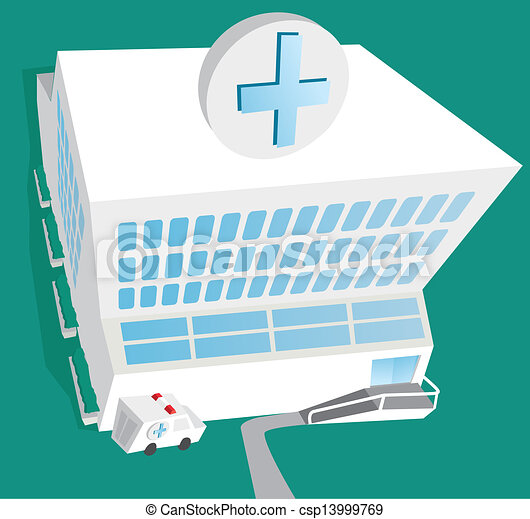 病院, 入口, 救急車 - csp13999769