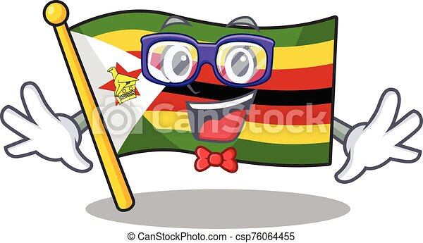 痛みなさい, スタイル, 極度, geek, 面白い, 漫画, ジンバブエの旗, マスコット - csp76064455